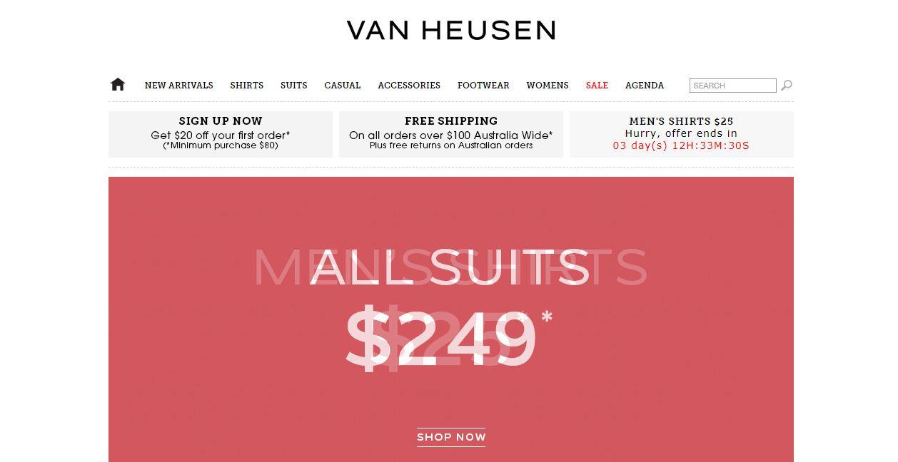 Van Heusen Promo codes at HotOz