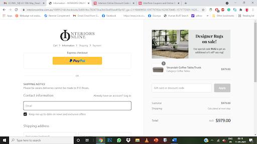 Interiors Online Promo codes at HotOZ