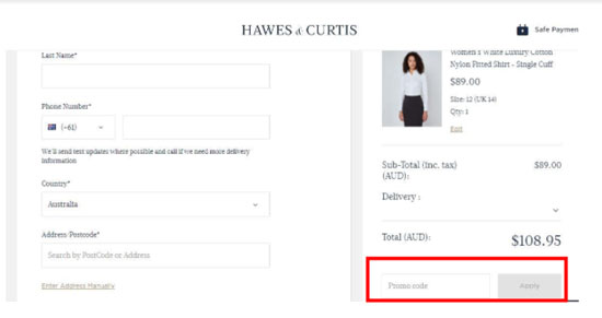 Hawes and Curtis  Discount codes at HotOZCoupons